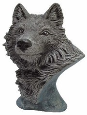 Animal Bust - Wolf BISQUE (Unpainted)