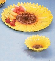 Platter/Dip Dish-Sunflower SET