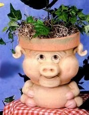 Animal Pot - Piggy LG BISQUE (Unpainted)
