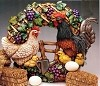 Wreath - French Ctry / Rooster BISQUE (Unpainted)