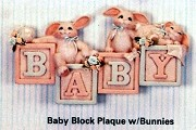 Baby Block Plaque w/ Bunnies BISQUE (Unpainted)